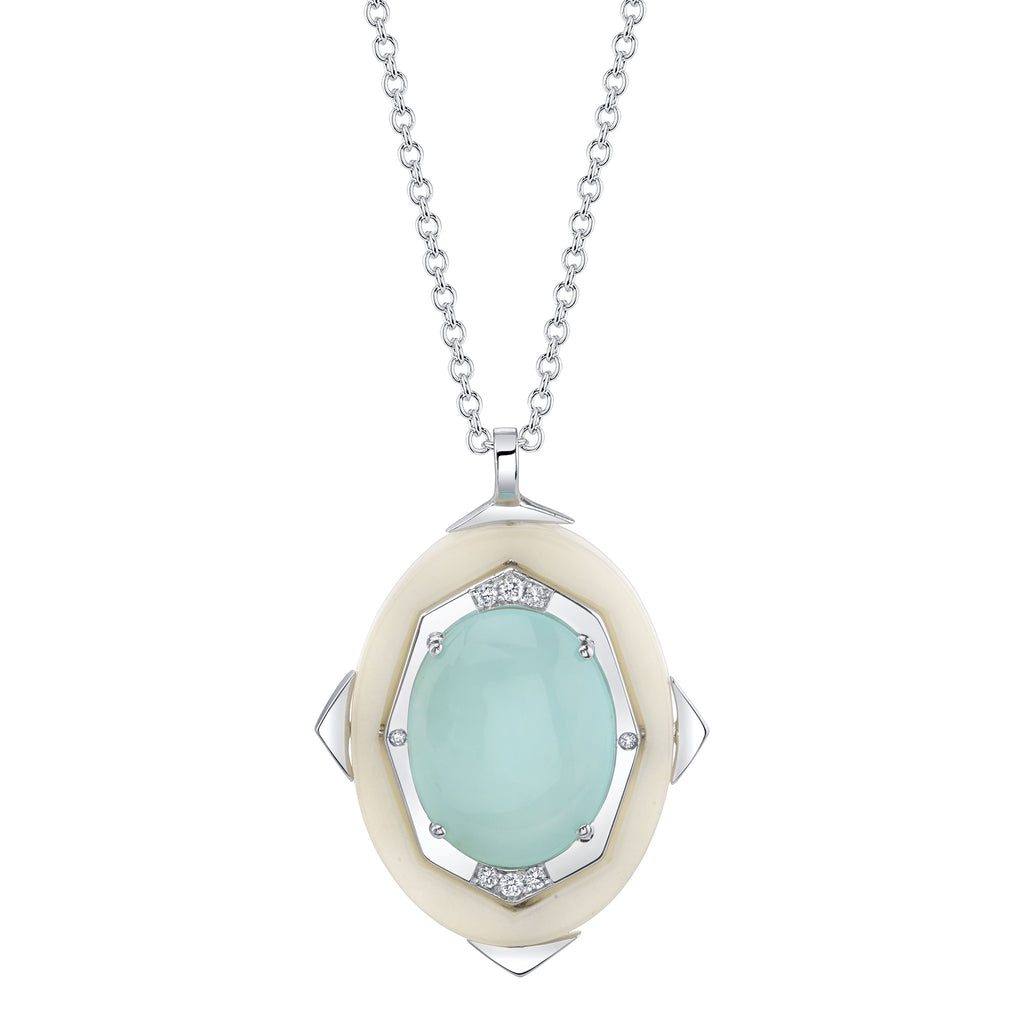 Small Affinity Diamond Pendant with Blue Opal Center in 18k Gold Jewelry - Irthly - 2