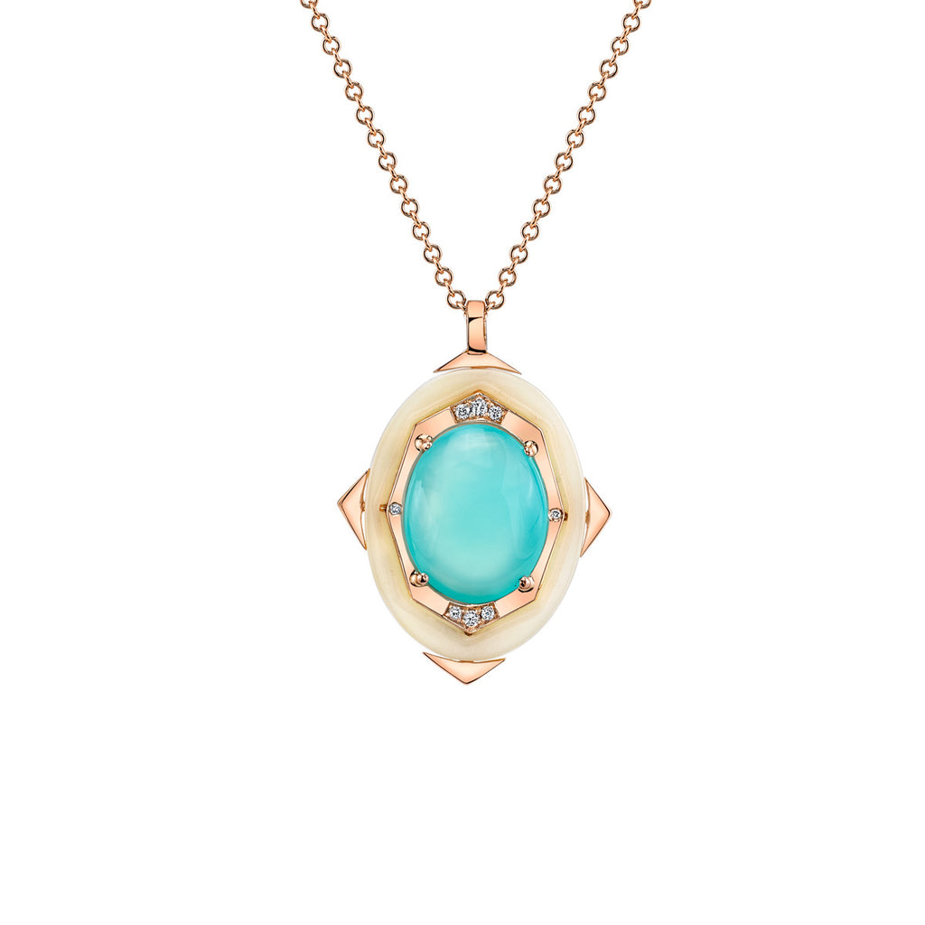 Small Affinity Diamond Pendant with Blue Opal Center in 18k Gold Jewelry - Irthly - 1