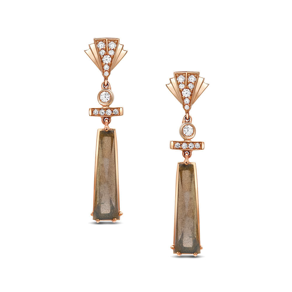 Fan Diamond Dangle Earrings with Labradorites in Gold Jewelry-Deco Sans Series