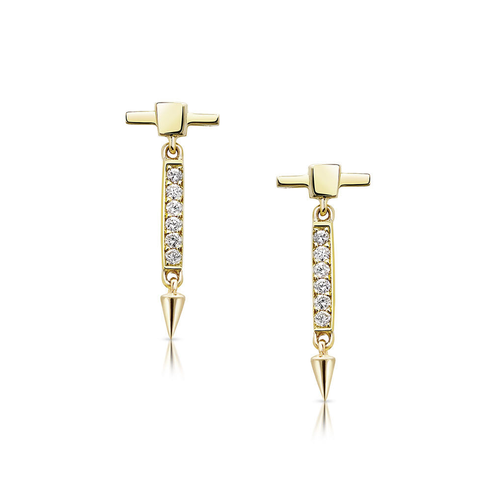 Diamond Bar Dangle Stud Earrings in Yellow Gold By Irthly