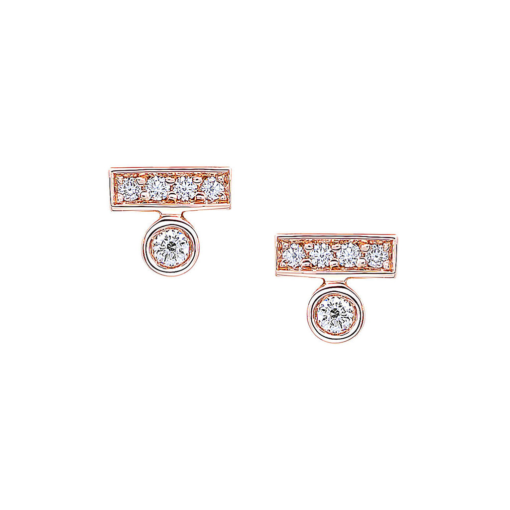 Round Diamond Bar Stud Earrings in Rose Gold By Irthly