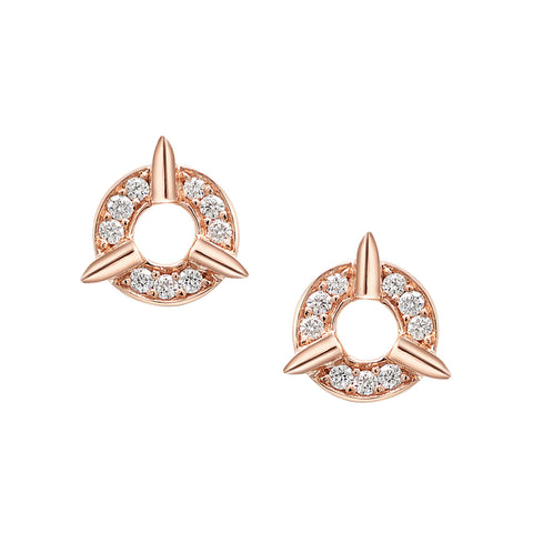Dainty Circle Diamond Stud Earrings With Spikes In Rose Gold By Irthly