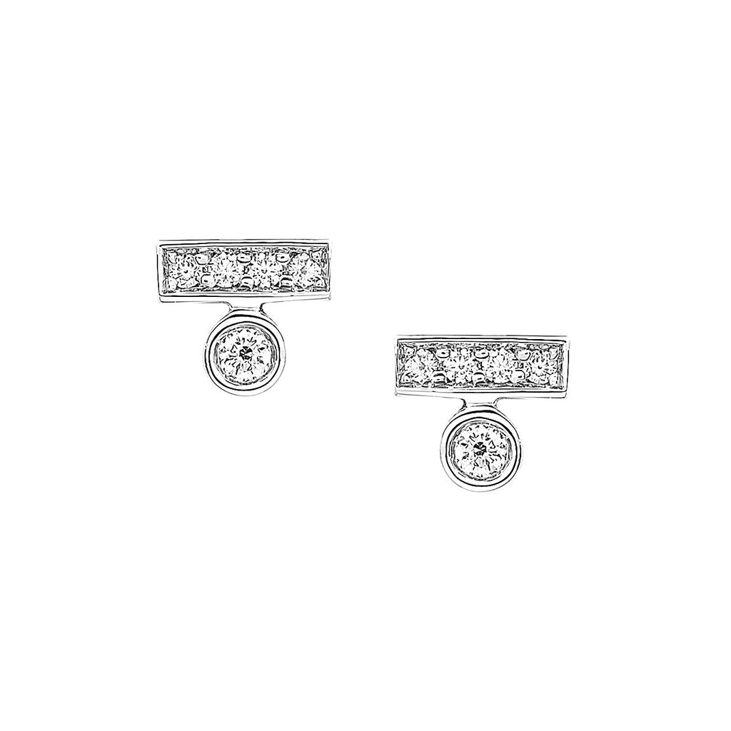 Round Diamond Bar Stud Earrings in White Gold By Irthly