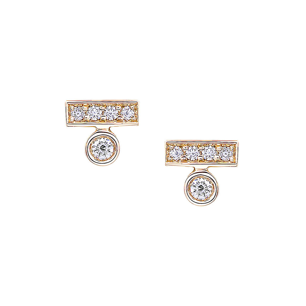 Round Diamond Bar Stud Earrings in Yellow Gold By Irthly