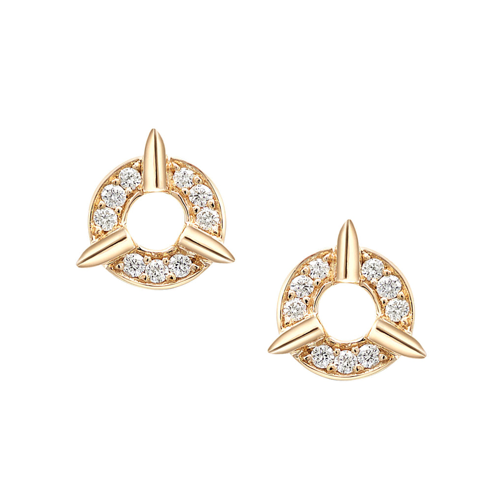 Dainty Circle Diamond Stud Earrings With Spikes In Yellow Gold By Irthly