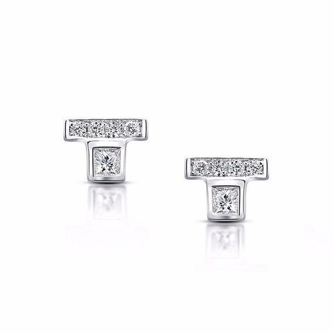 Princess Cut Diamond Bar Stud Earrings in White Gold by Irthly