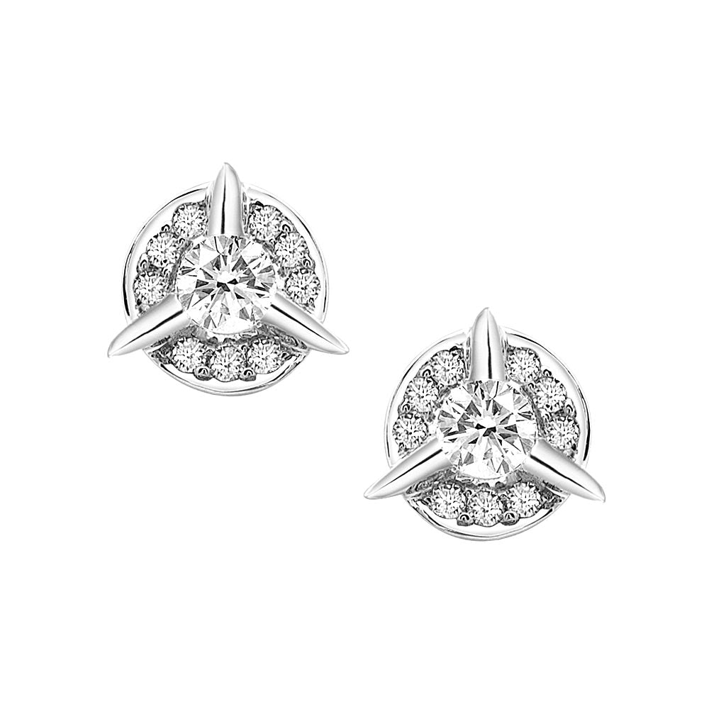 Dainty Circle Diamond Stud Earrings With Center Diamond In White Gold By Irthly