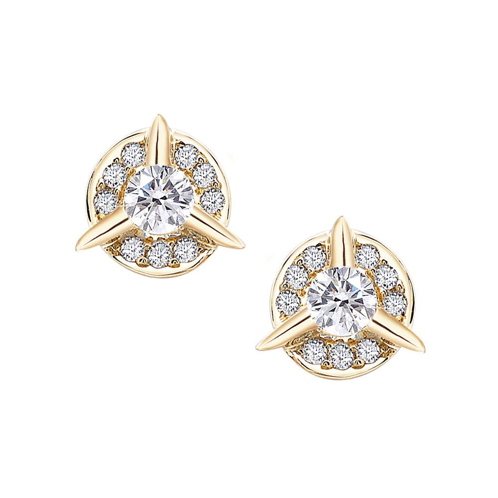 Dainty Circle Diamond Stud Earrings With Center Diamond In Yellow Gold By Irthly