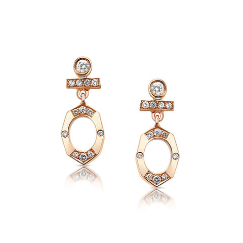 Dainty Diamond Drop Earrings in Rose Gold By Irthly