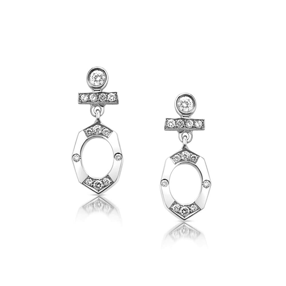 Dainty Diamond Drop Earrings in White Gold By Irthly