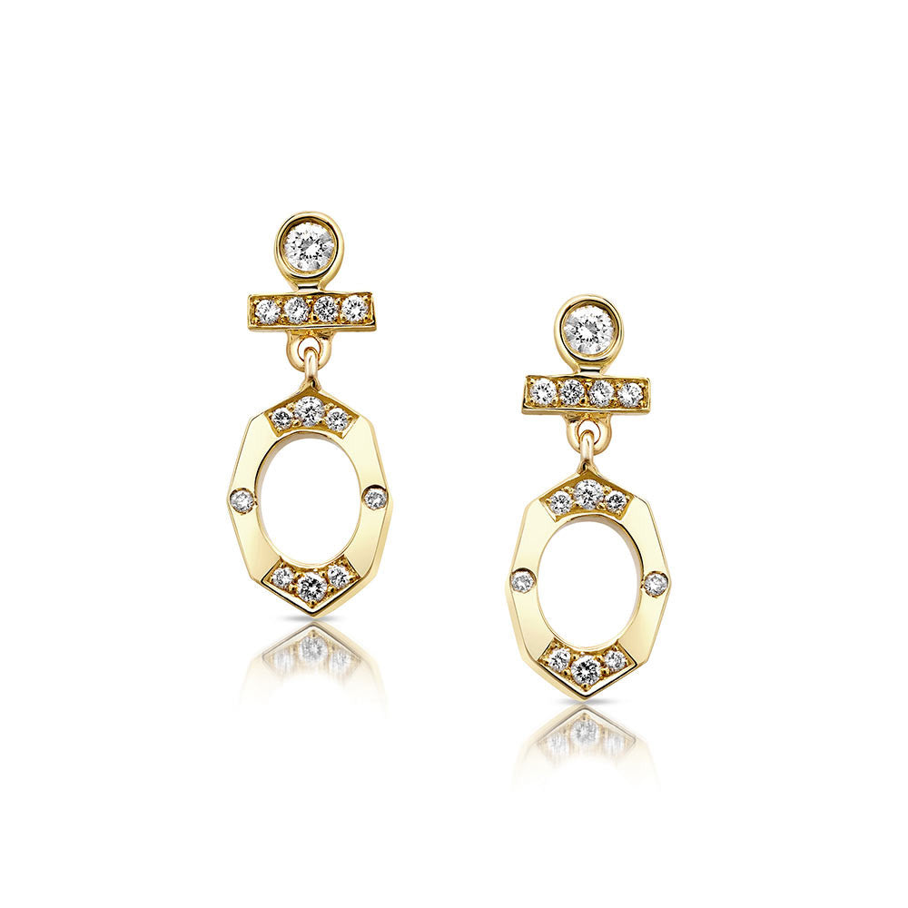 Dainty Diamond Drop Earrings in Yellow Gold By Irthly