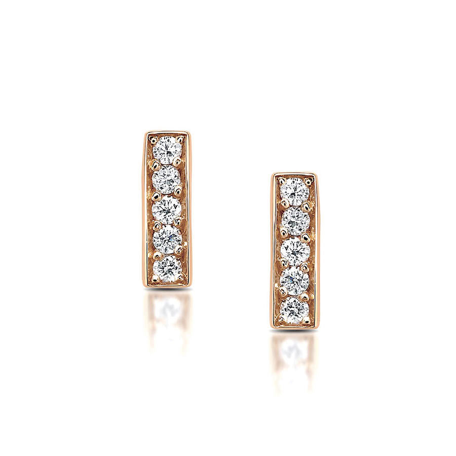 Diamond Bar Stud Earrings in Rose Gold By Irthly