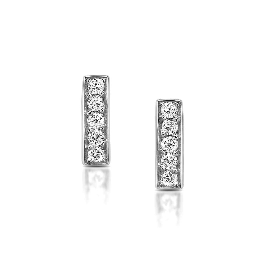 Diamond Bar Stud Earrings in White Gold By Irthly