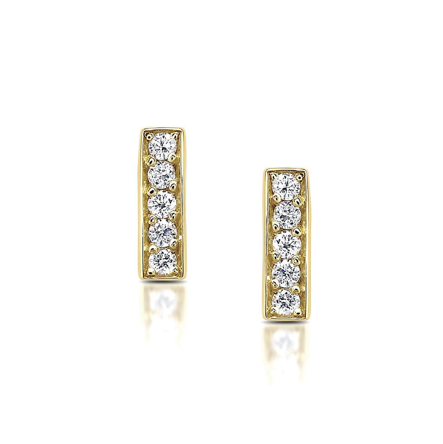 Diamond Bar Stud Earrings in Yellow Gold By Irthly