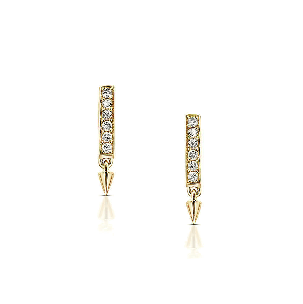 Diamond Bar Earrings in Yellow Gold By Irthly