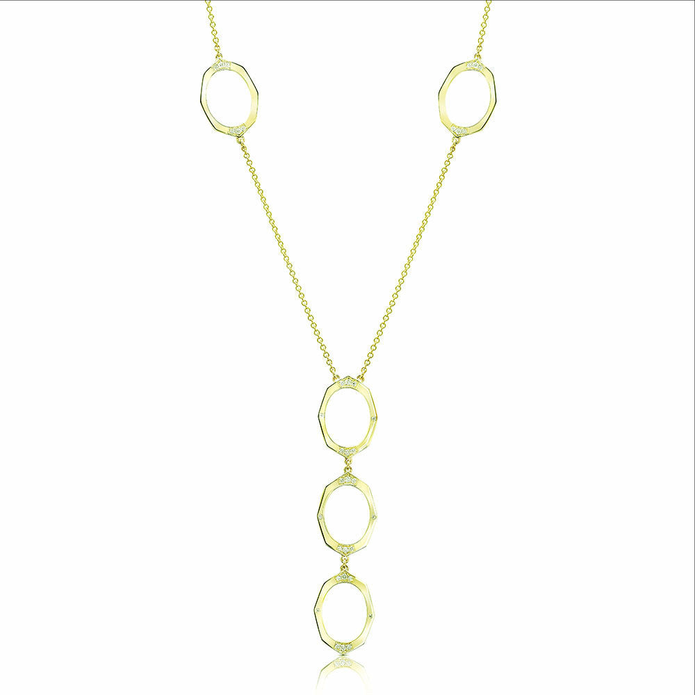 Oval Link Diamond Necklace in Yellow Gold By Irthly