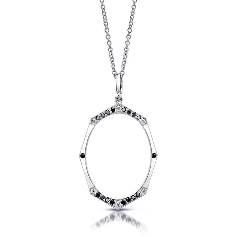 Large Black and White Diamond Necklace in White Gold By Irthly