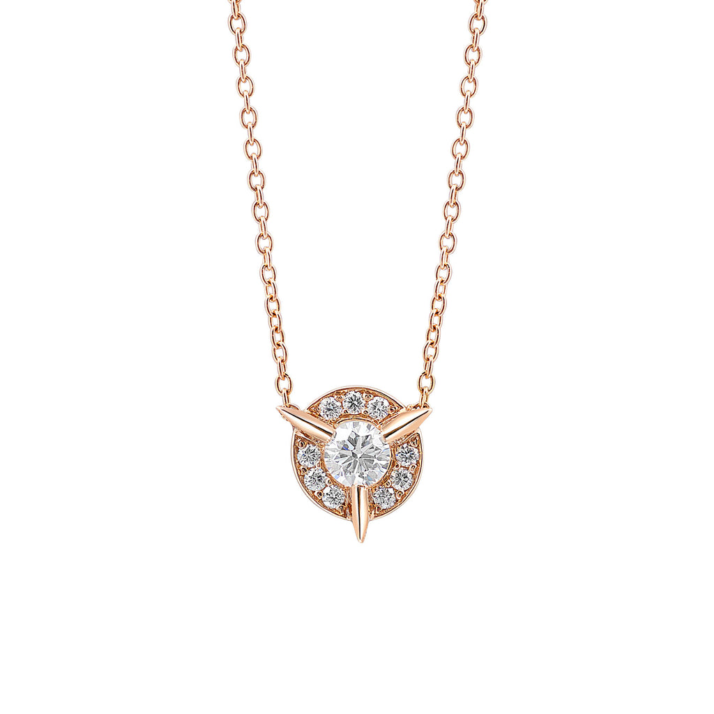 Dainty Diamond Necklace with Diamond Center In Rose Gold By Irthly