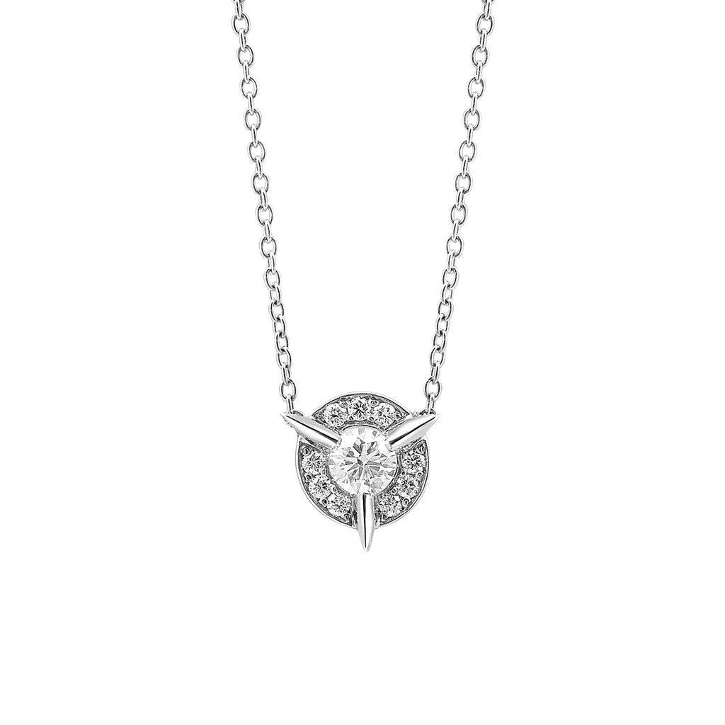 Dainty Diamond Necklace with Diamond Center In White Gold By Irthly