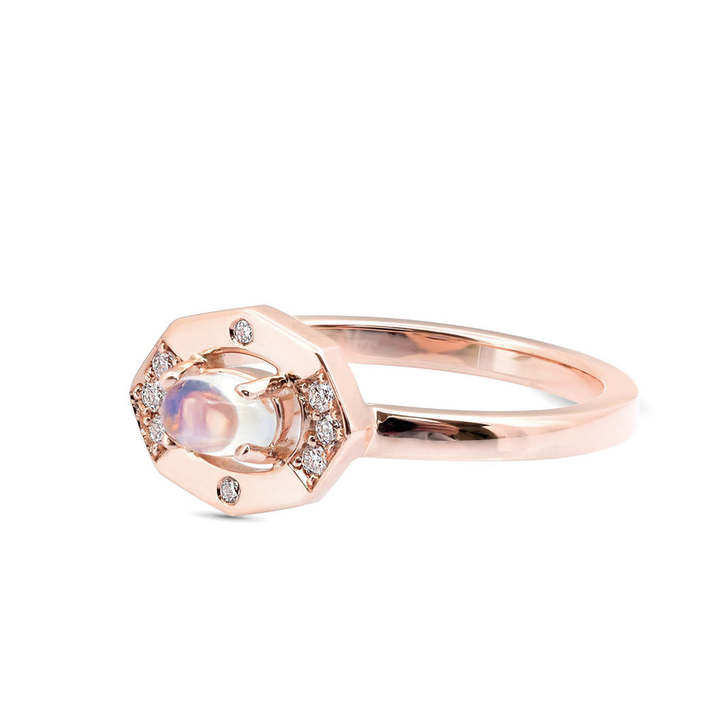 Dainty Moonstone and Diamond Vertical Ring Seen in Rose gold