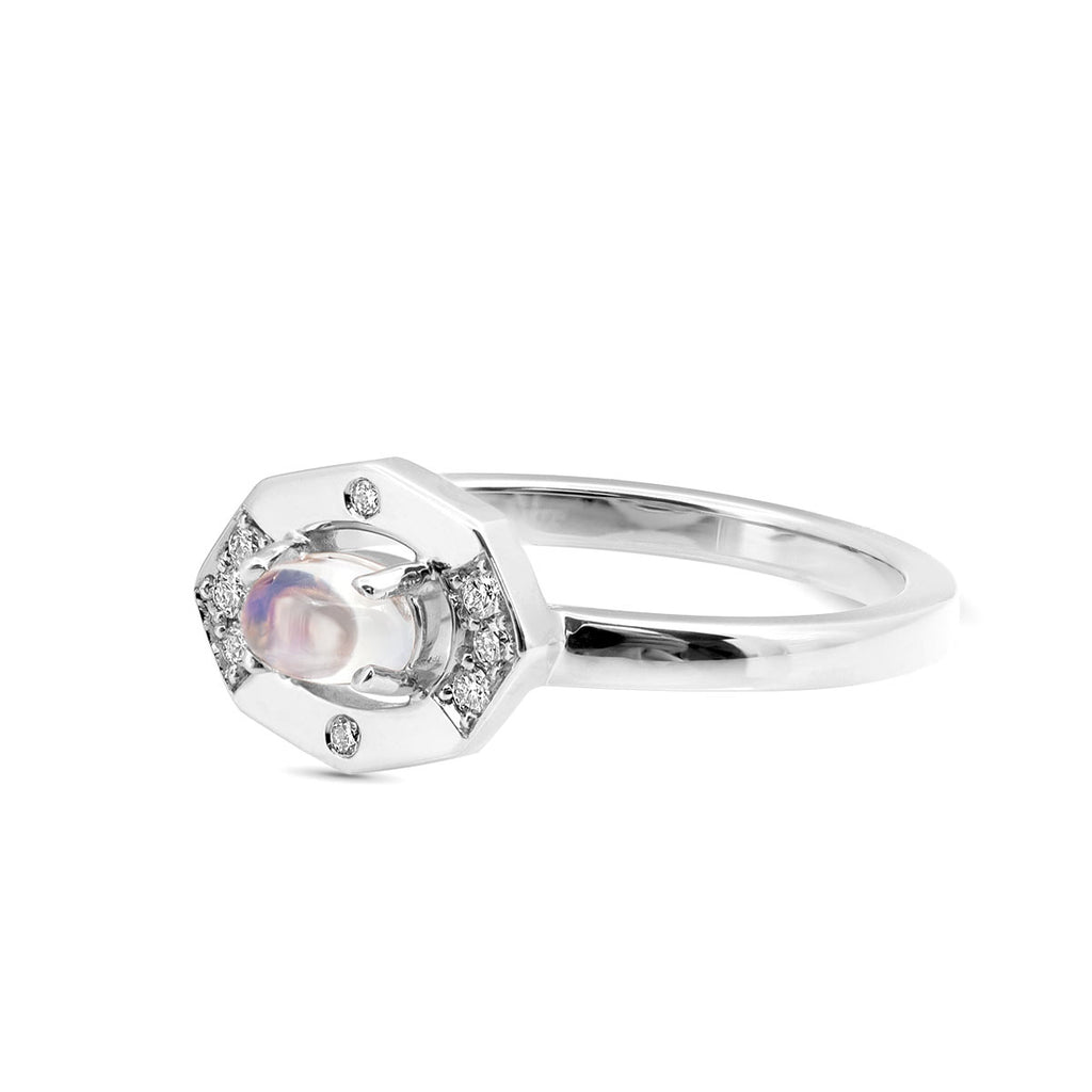 Dainty Moonstone and Diamond Vertical Ring displayed in white gold
