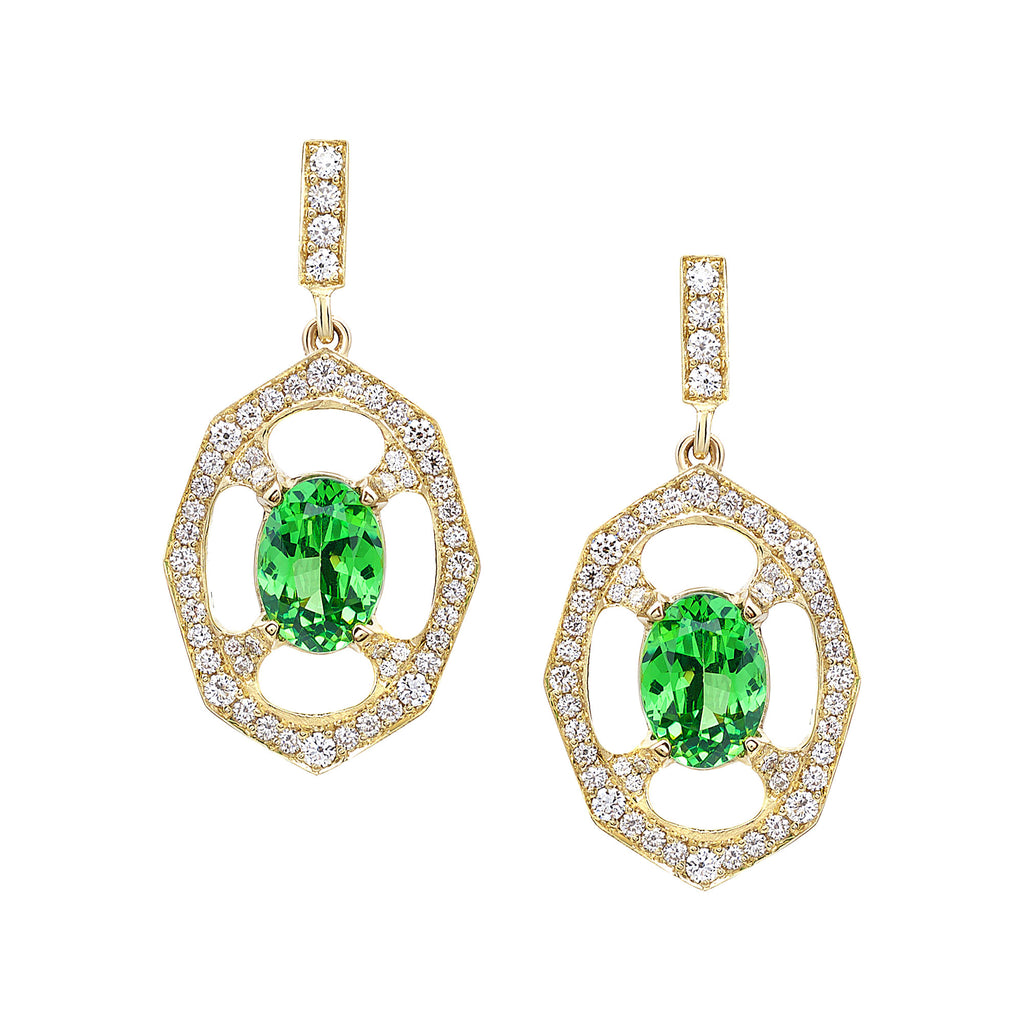 Tsavorite Garnet and Diamond Drop Earrings In Yellow Gold By Irthly