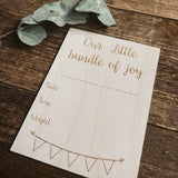Complete your own birth announcement plaque