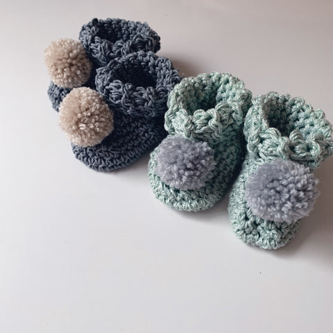 Handmade pom pom high top booties