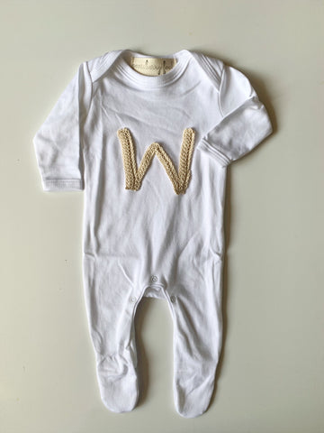 Organic cotton initial appliqué sleepsuit