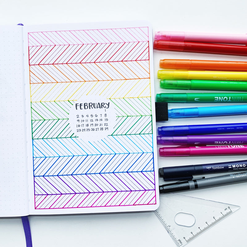 February Rainbow Pattern Cover Page Tutorial