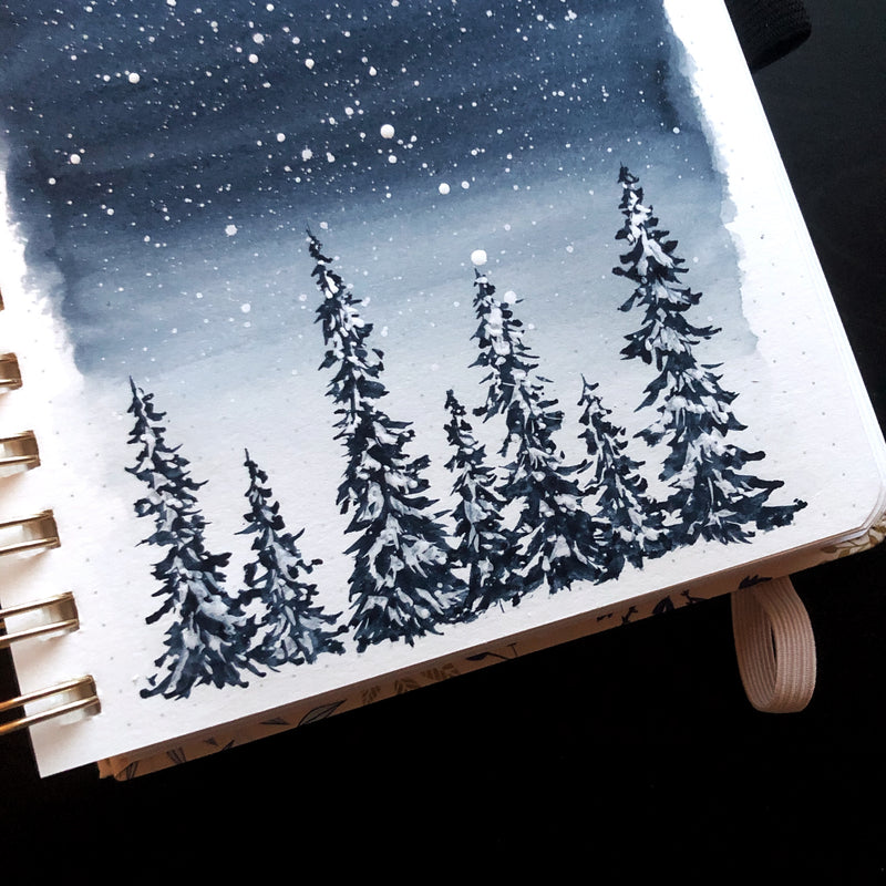 Winter Painting Tutorial and First Impressions of the Archer and Olive Watercolour Journal