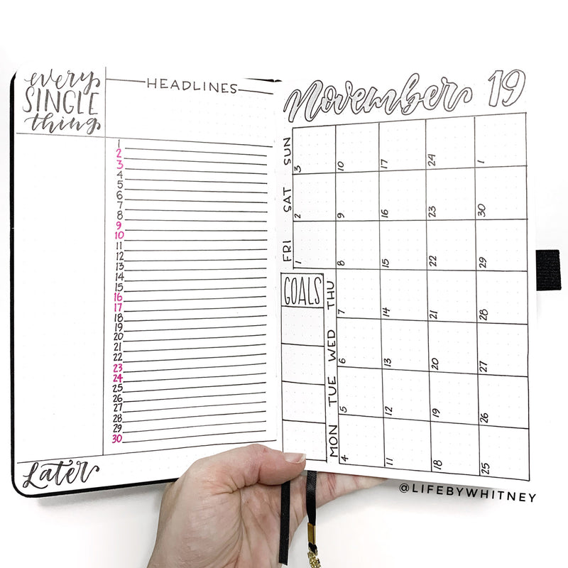 Start your Bullet Journal: How to Draw a Monthly Spread Calendar