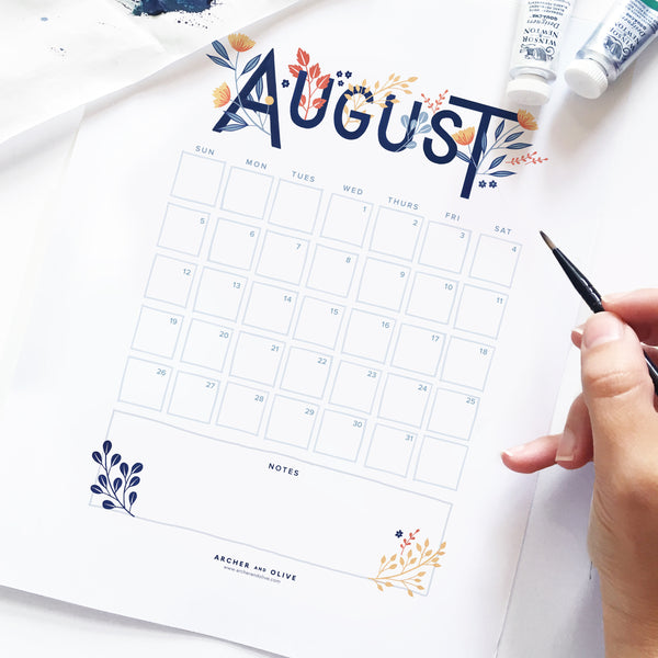 Freebie Friday - August Calendar