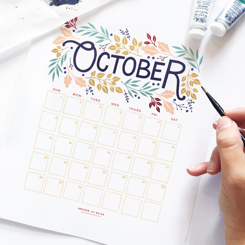 Freebie Friday - October Calendar Printable