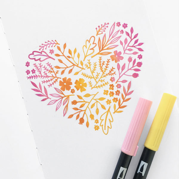 Create this ombre heart with Tombow brush pens