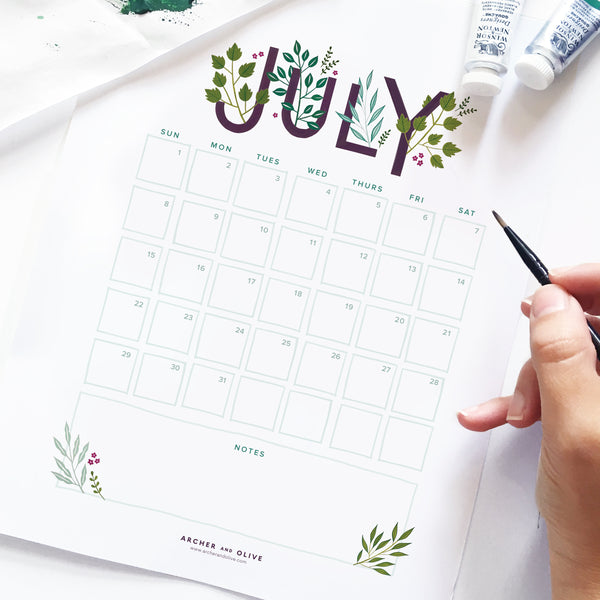 Freebie Friday - July Calendar