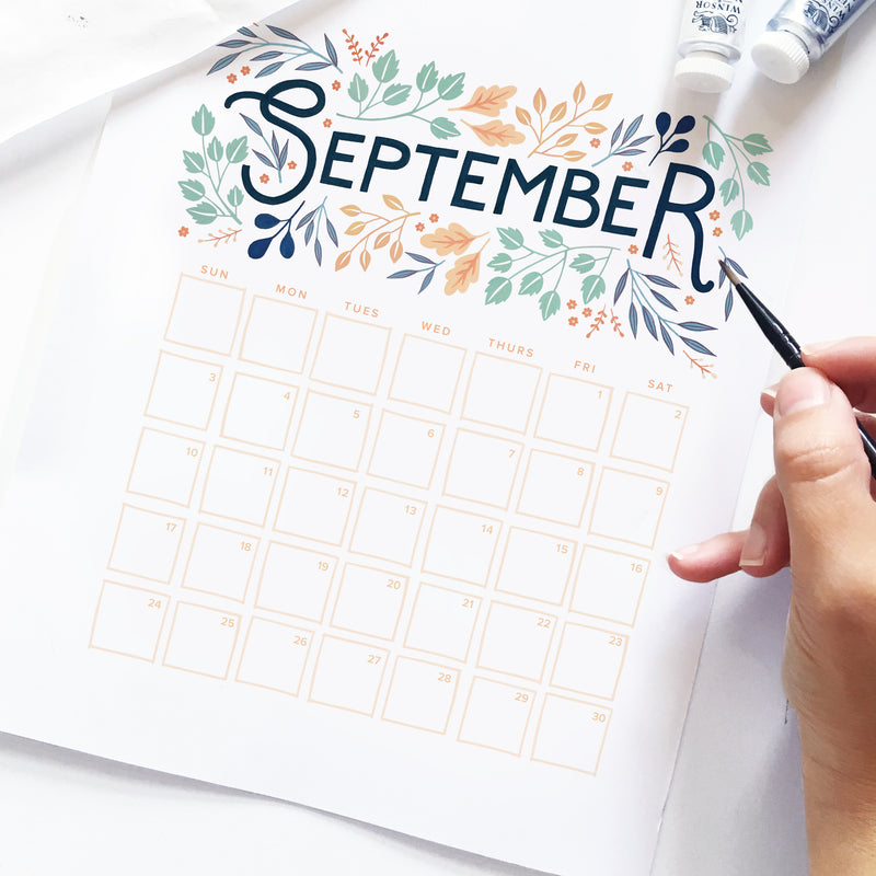 Freebie Friday - September calendar printable