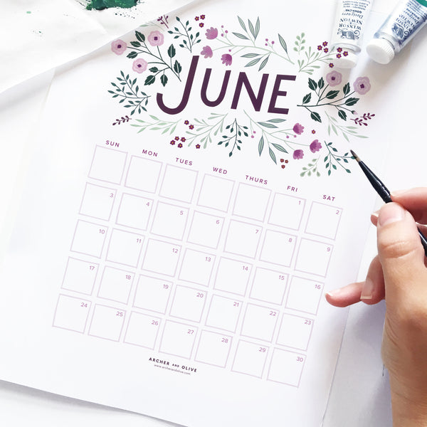 Freebie Friday - June Calendar