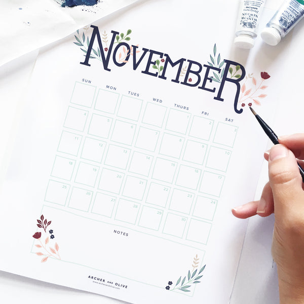 Freebie Friday - November 2018 Free Printable Calendar