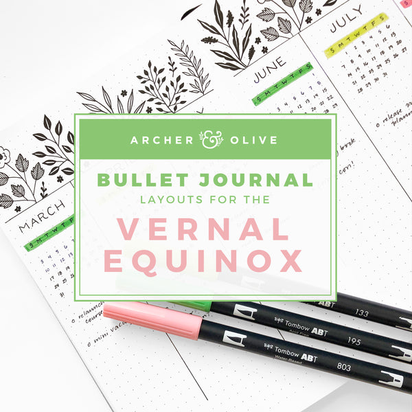Bullet Journal Layouts for the Vernal Equinox