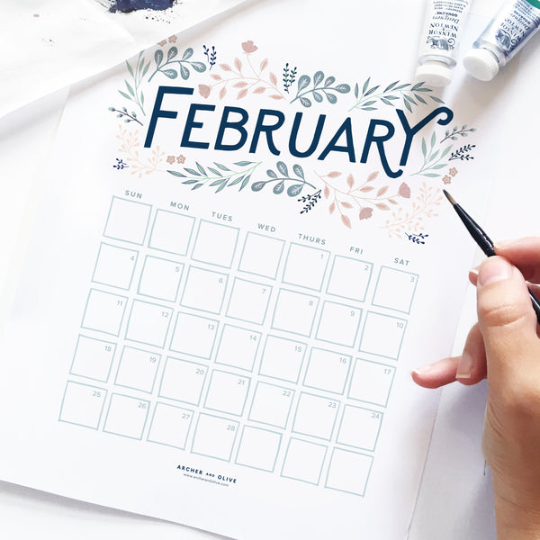 Freebie Friday - February Calendar Printable