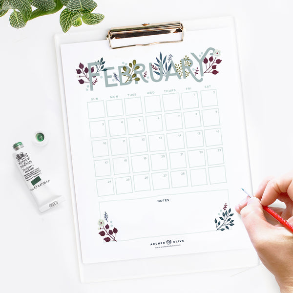 Freebie Friday - February 2019 Calendar