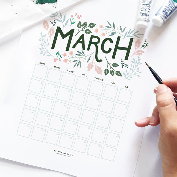 Freebie Friday - March Calendar Printable