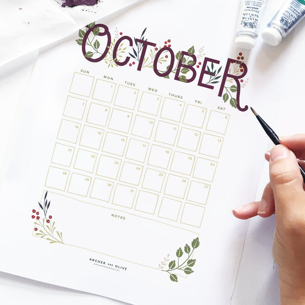 Freebie Friday - October 2018 Calendar