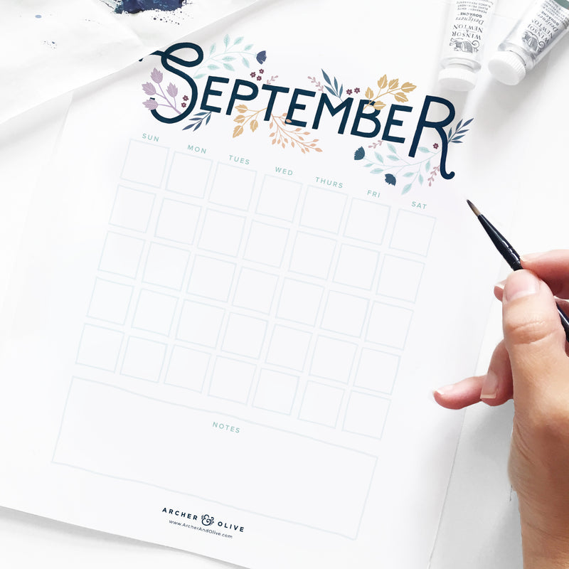 September Printable Calendar Freebie