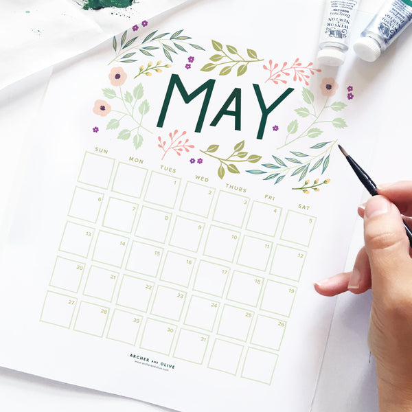 Freebie Friday - May Calendar Printable