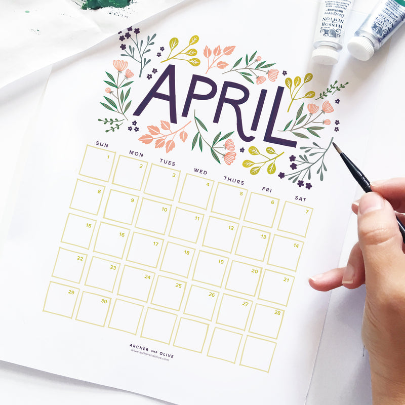 Freebie Friday - April Calendar