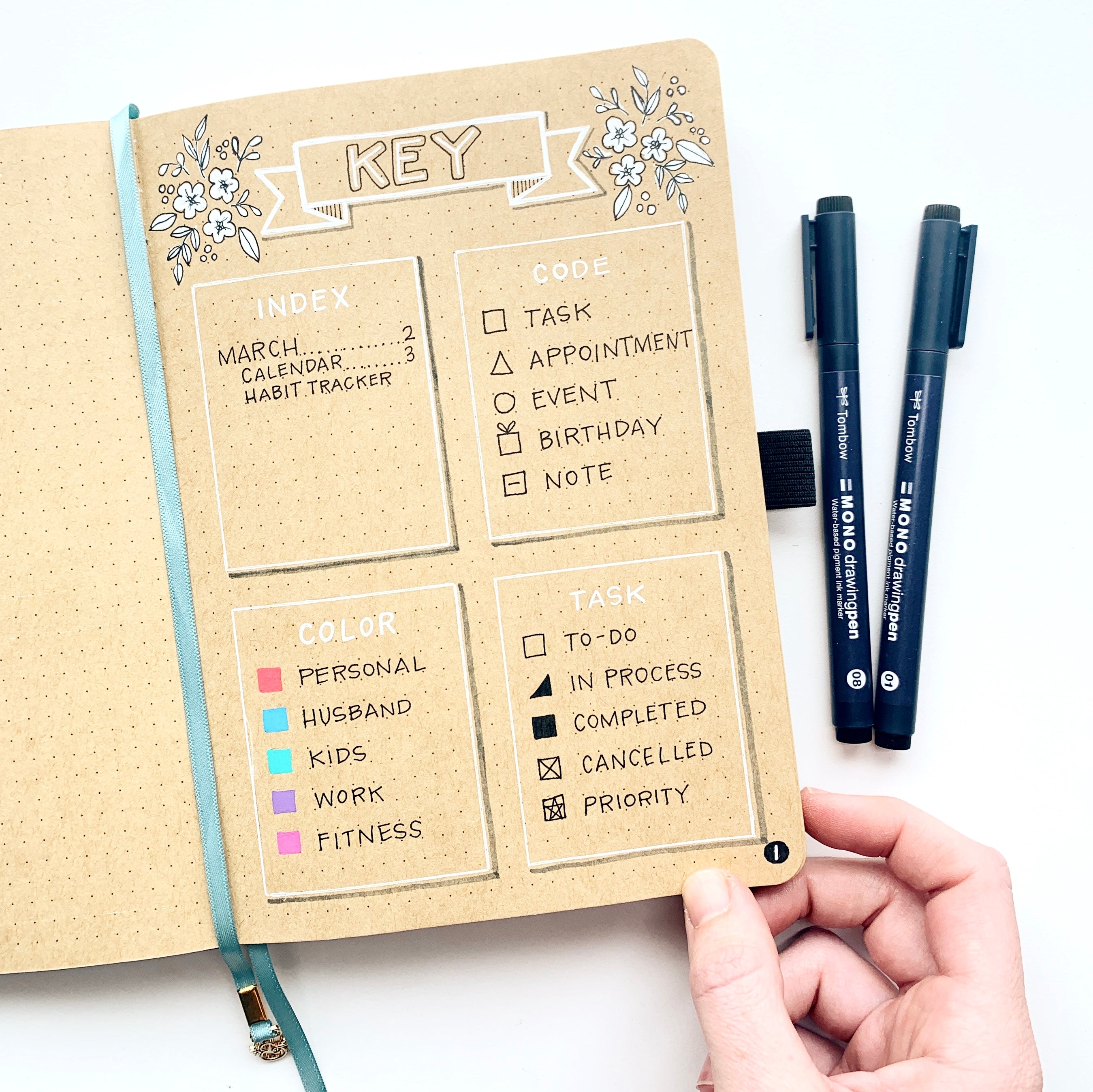 Learn three easy spreads to set up your bullet journal with Adrienne from @studio80design!