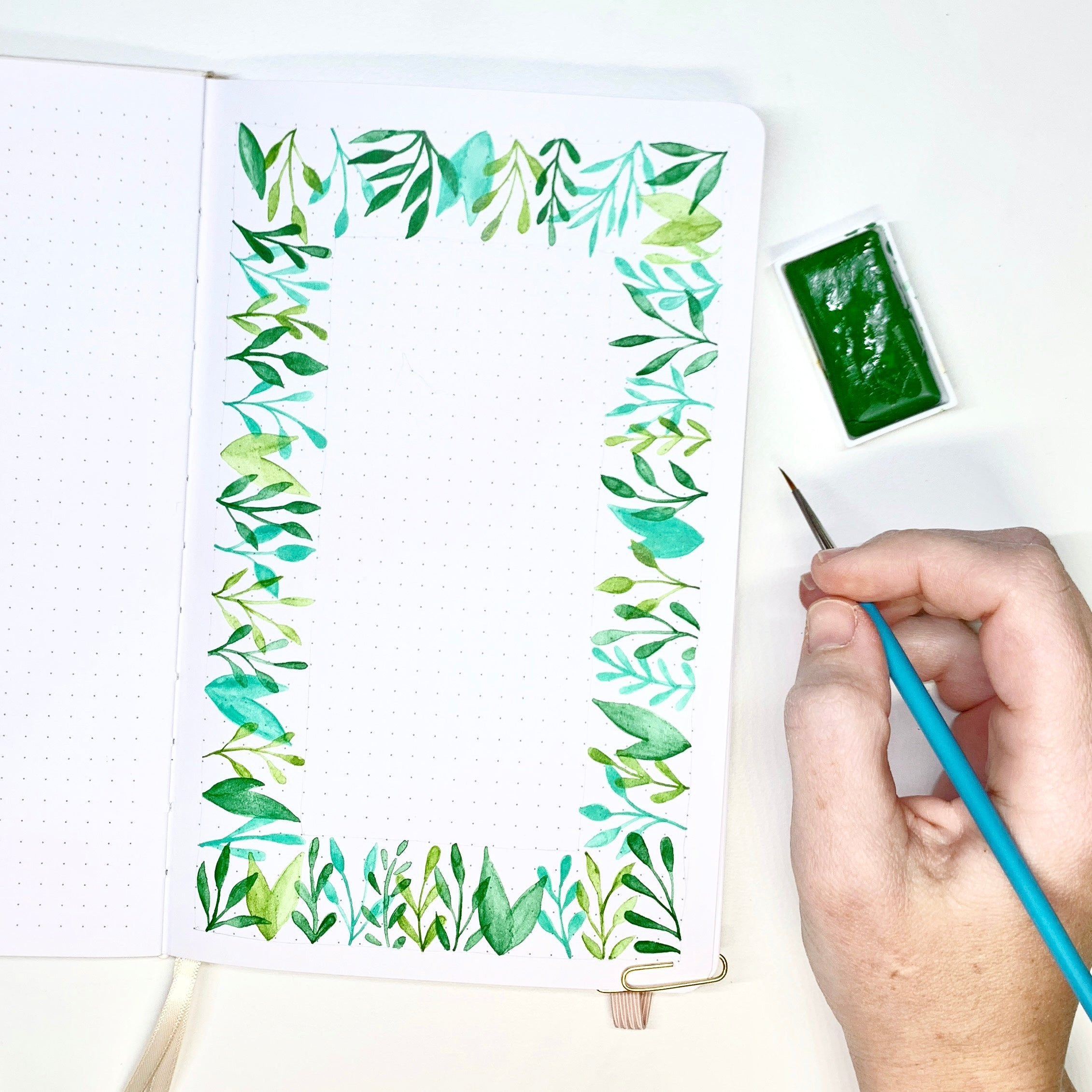 Create a mixed media leaf border