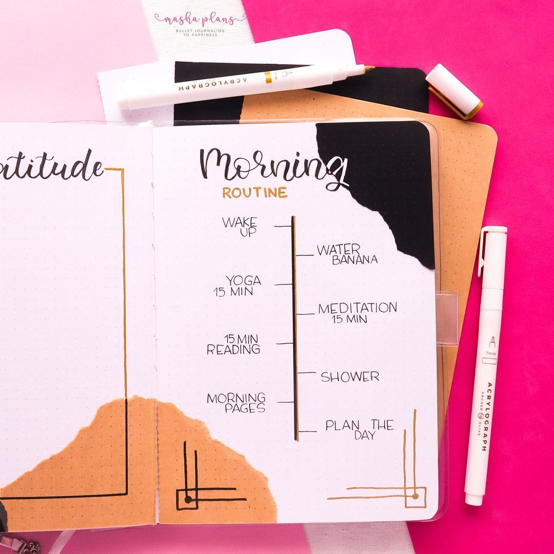 routine, morning routine, masha plans, page ideas, bullet journal, archer and olive